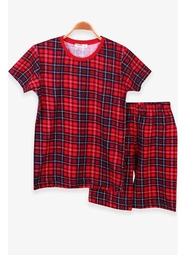 Breeze Erkek Çocuk Şortlu Pijama Takımı Ekoseli Kırmızı (10-12 Yaş) Kırmızı